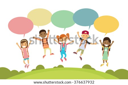 Children Happy Smile Group Jump Colorful Chat Box Park Outdoor Flat Vector Illustration - stock vector