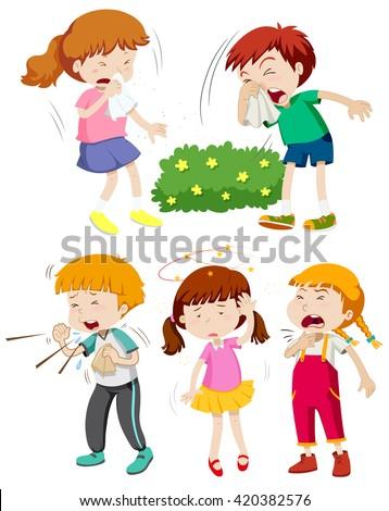Children having cold and fever illustration - stock vector