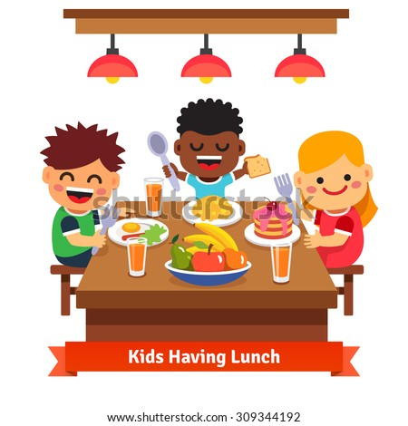 Children having dinner at the kindergarten of home. Kids eating and smiling. Flat style cartoon vector illustration isolated on white background. - stock vector