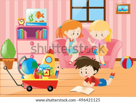 Children Having Fun Living Room Illustration Stock Vector 496421125 ...