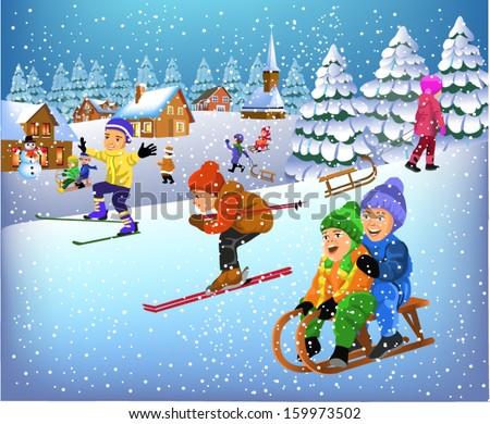 children having fun in the winter season - stock vector
