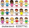 children holding hands - stock vector