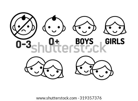 Children icon set: age warning labels (not suitable for young kids) and gender signs. Line icons, simple modern style. - stock vector