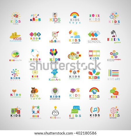 Children Icons Set-Isolated On Gray Background.Vector Illustration,Graphic Design.Kids Brain,Hand Click,Logo Guitar - stock vector