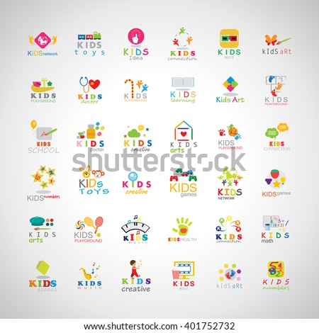 Children Icons Set-Isolated On Gray Background.Vector Illustration,Graphic Design.Kids Notebook,Book,Logo Bulb.Different Fun Logo Games, Playground.Logo Art. Logo Creativity - stock vector