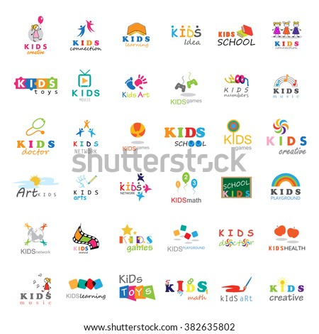 Children Icons Set-Vector Illustration,Graphic Design.For Web,Websites,App,Print,Presentation Templates,Mobile Applications,Promotional Materials.Kids Note,Balloon,Handprints,Book,Logo Bulb,Collage  - stock vector