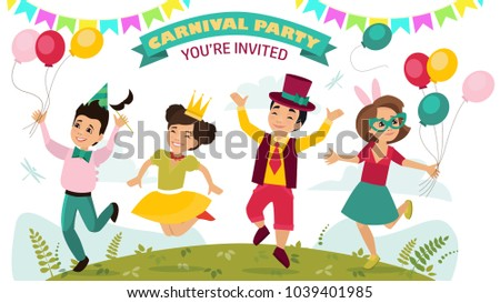 Children in carnival costumes disguised for a party.  sc 1 st  Shutterstock & Children Carnival Costumes Disguised Party Stock Vector (2018 ...
