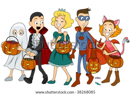 Children in Halloween Clothes - Vector - stock vector