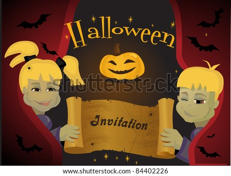 Children in Halloween costumes with paper scroll banner - stock vector