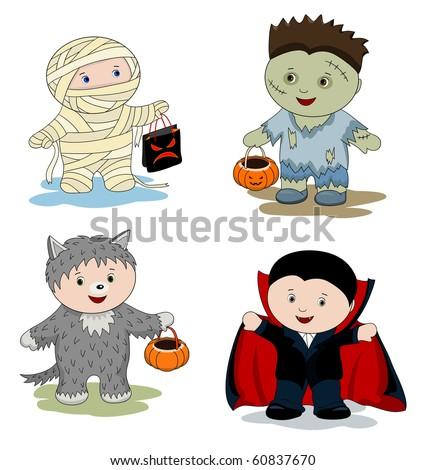 Children in masks - zombie, mummy, werewolf and vampire - stock vector