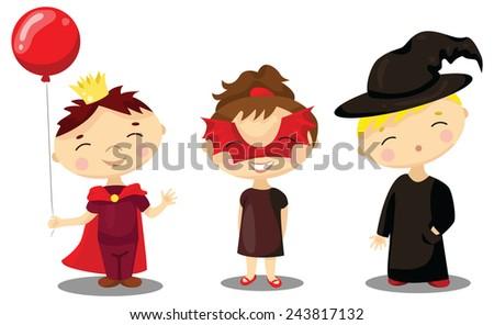 Children in masquerade costumes. Illustration for Italian Carnevale or Halloween - stock vector