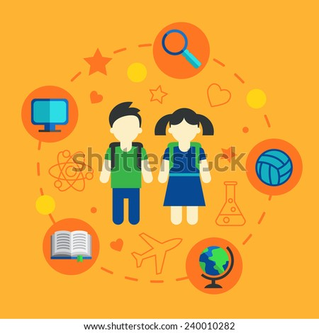 Children in school, the elements of infographics, Set of icons and characters on a school theme. Vector flat style  - stock vector