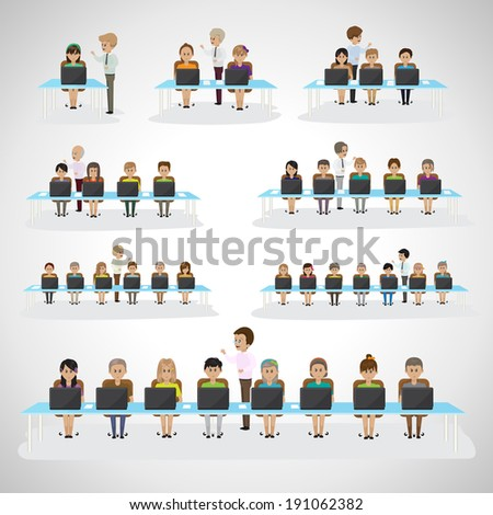Children In The Classroom -  Isolated On Gray Background - Vector Illustration, Graphic Design Editable For Your Design - stock vector