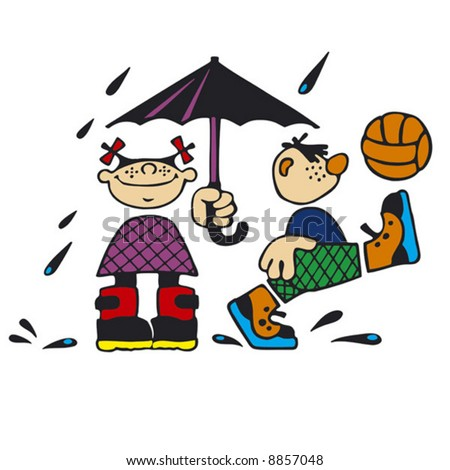 Children in the rain. Simple vector.