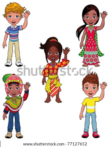 Children in the world. Cartoon and vector isolated characters. - stock vector