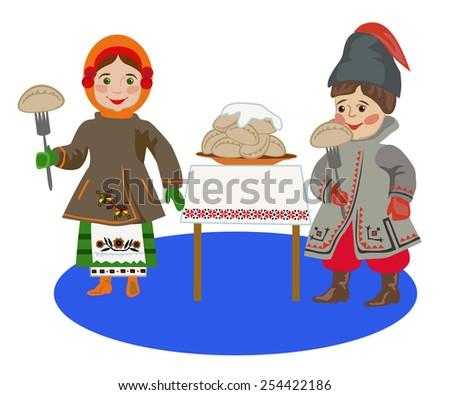 Children in Ukrainian folk costume eating dumplings at Shrovetide - stock vector