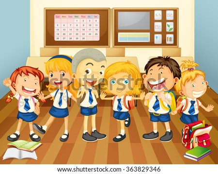 Children in uniform in the classroom illustration