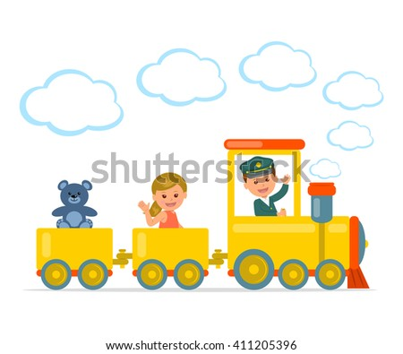 Children Journey. Cheerful boy and girl riding on a train. Isolated vector illustration.  - stock vector