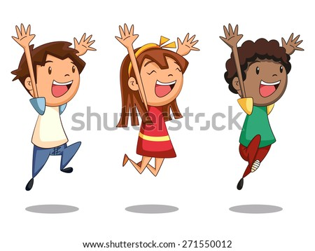 Children jumping, vector illustration - stock vector