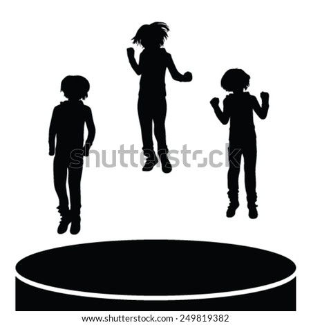 children jumping vector silhouette - stock vector