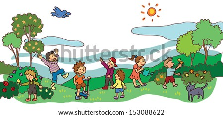 Park illustration peoples playing relaxing walking dogs swimming