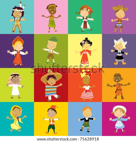 children multicultural traditional clothing - stock vector