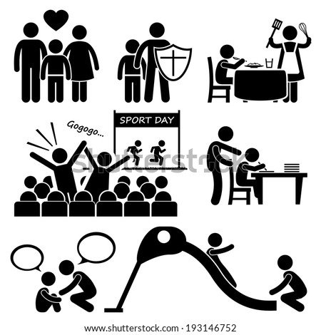 Children Needs Parent Love Supports Stick Figure Pictogram Icon Cliparts - stock vector