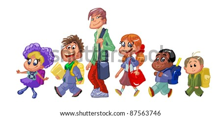 children of all ages go to school - stock vector