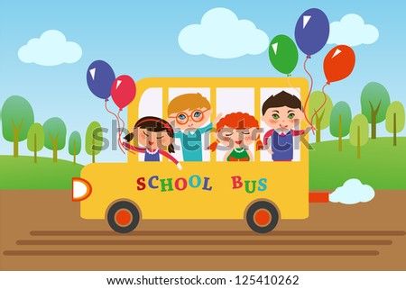 Children of different nationalities are going to school by bus. - stock vector