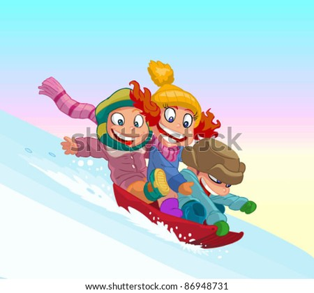 Children on a sled ride with the mountain - stock vector
