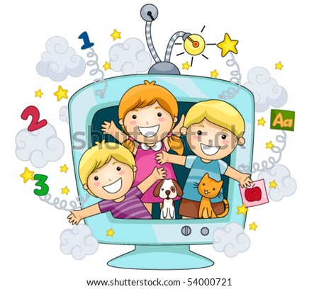 Children on Educational TV - Vector - stock vector