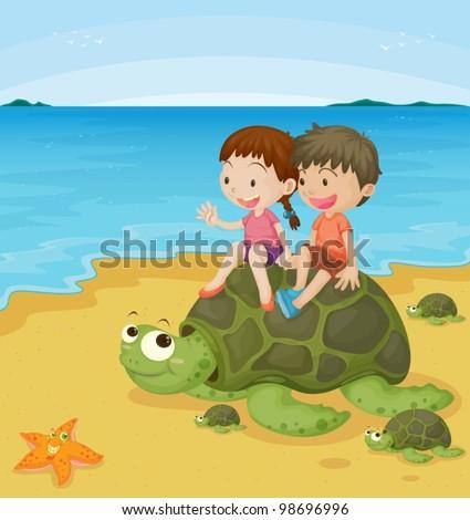 children on sea turtle - stock vector
