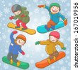 Children on snowboards Set. Winter activities. Isolated objects on Snow Winter background. Great illustration for school books, magazines, advertising and more. VECTOR. - stock vector