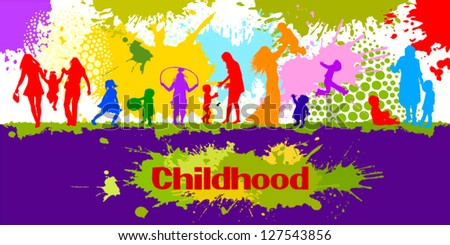 Children on the background of multicolored spots of paint - stock vector