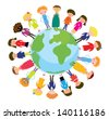 Children on the globe international funny cartoon - stock vector