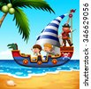 Children on the ship with pirate illustration - stock vector