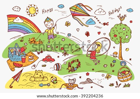 Children Outdoor Activities. Summer Camp or holidays. Summer vacation. Happy children playing in the Park. Kids at the picnic. Hand drawn doodle Childhood set. Background for kids - stock vector
