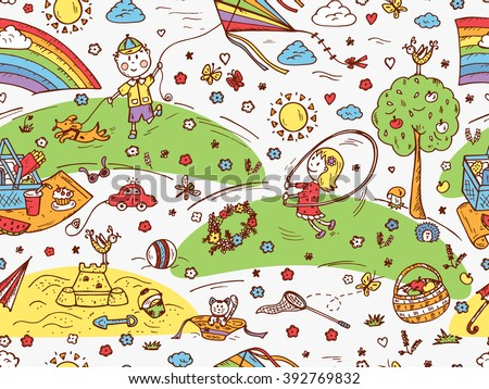Children Outdoor Activities. Summer Camp or holidays. Summer vacation. Happy children playing in the Park. Kids at the picnic. Hand drawn doodle Childhood Seamless Pattern. Background for kids - stock vector