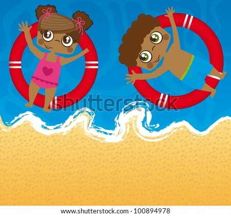 children over sea with floats. vector illustration