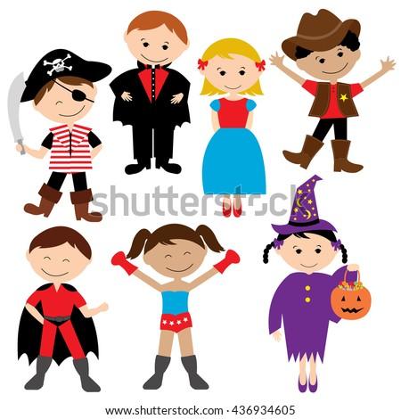 Children Party Costume Kids Costume Vector Stock Vector ...