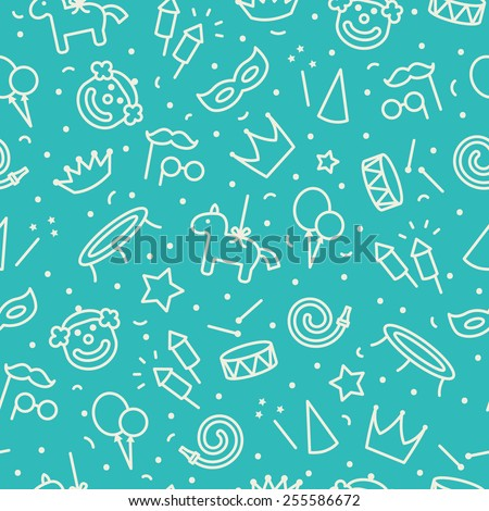 Children party seamless pattern. Blue and cream colors. Thin line icons of party accessories. Also for printing on paper and fabric.