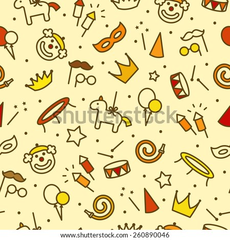 Children party seamless pattern. Thin line icons of party accessories. Also for printing on paper and fabric.  - stock vector