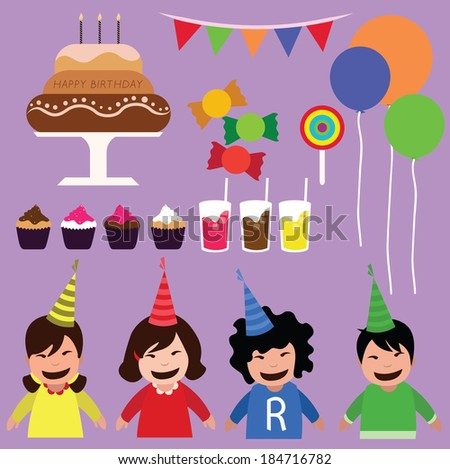 children party time. concept vector illustration - stock vector