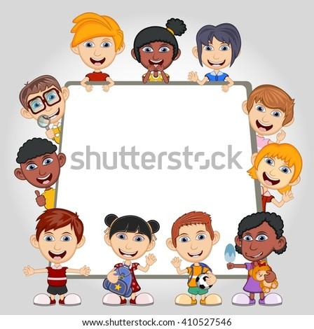 Children peeping behind placard cartoon vector illustration - stock vector
