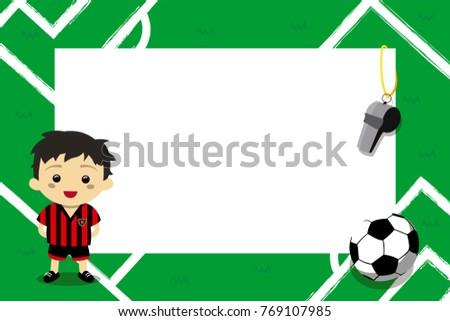 Children Photo Frames Football Player Stock Vector 769107985 ...