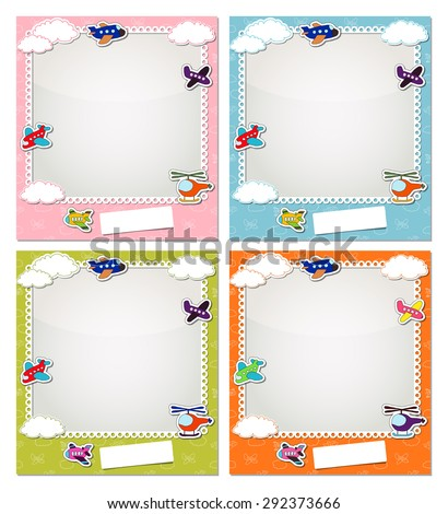 Children photo frames with the aircraft and clouds - stock vector