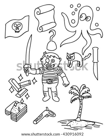 Children pirate doodle vector art