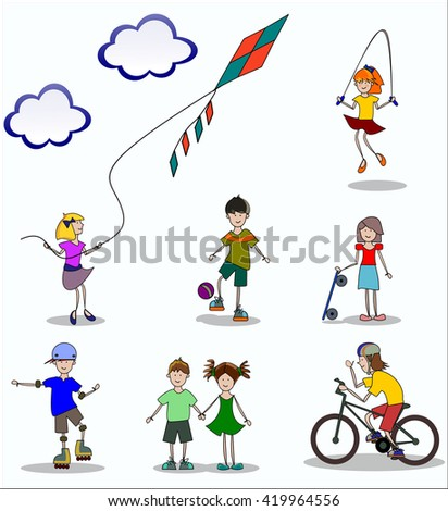 children play and do sports in summer - stock vector
