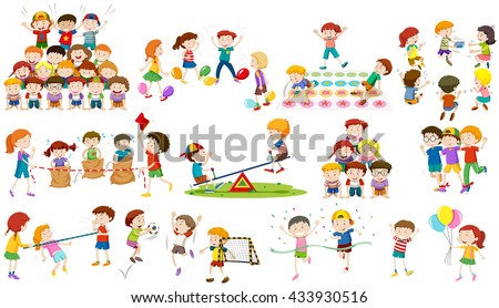Children play different kind of game illustration - stock vector