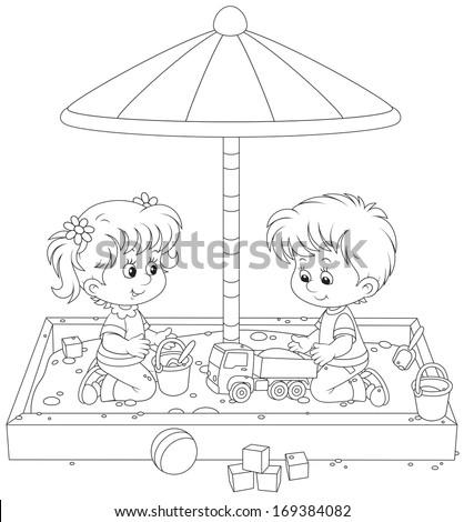 Children play in a sandbox - stock vector